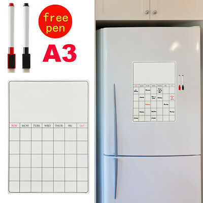 A3 Board Magnetic Memo Fridge Notice Weekly Family Meal Plan Whiteboard + 2 Pens • 5.99£