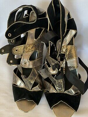 £7 • Buy Mystify Womens Black Pewter Mix Ribbon Tie Heel Sandals Shoes Size 8(42)