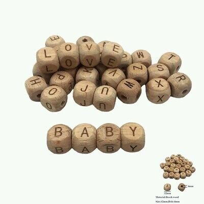 £2.01 • Buy Alphabet DIY Teething PC Beech  Toy Wooden Letter Beads Cube 12mm Baby5 Natural