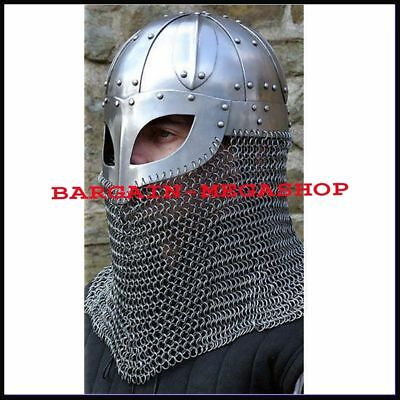 Historial Medieval Viking Helmet Battle Armor+18G Steel & Chainmail Gift For Him • 59£