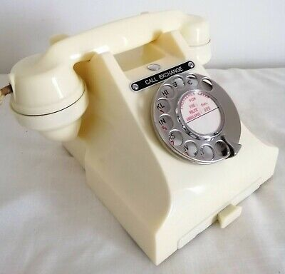 Call Exchange Cream Or Ivory Bakelite Phone, Art Deco. Converted And Working • 199.95£