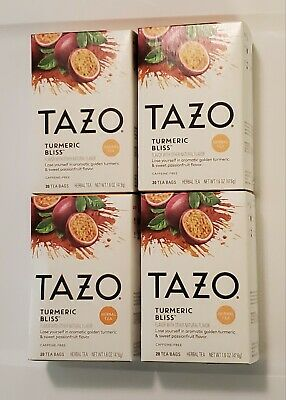 Tazo Turmeric Bliss Herbal Passionfruit Tea Lot Of 4 Boxes 20 Teabags Each 01/22 • 23.61£