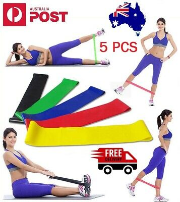 AU14.95 • Buy Set Of 5 Best Exercise Resistance Loop Bands A Fitness Stretch And Elastic Band