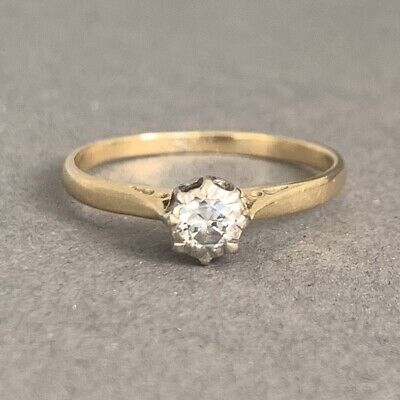 Vintage 18ct Gold Diamond Solitaire Ring 1.91g Size P • 189£