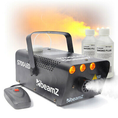 Beamz Smoke Machine With Flame Effect Lighting + 250ml Fluids Party Package • 52.99£
