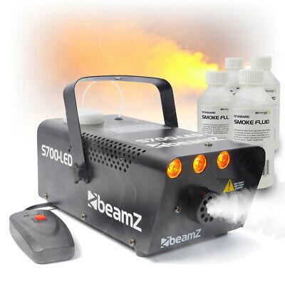 Beamz Smoke Machine With Flame Effect Lighting + 250ml Fog Fluids Party Package • 55.99£