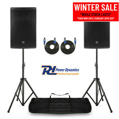 Pair 15  PA System Speakers With Stands Mobile DJ Live Band Stage 700W RMS • 355£