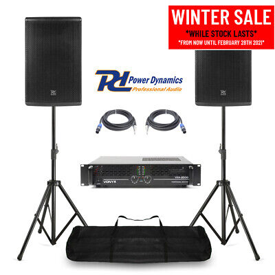 Pair Of 12  PA System Speakers, Amplifier & Stands Mobile DJ Band Stage 600w RMS • 459£