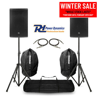 Pair 10  PA System Speakers With Stands & Bags Mobile DJ Band Stage 400W RMS • 299£