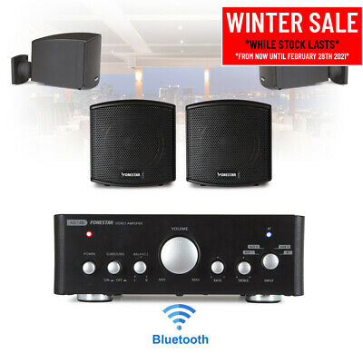 Speaker And Amplifier Home HiFi AUX Stereo Bluetooth Music Sound System (Pair) • 160£