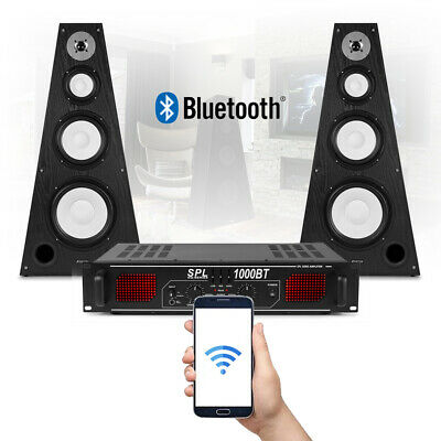 Double 8  Passive PA Speakers With SPL Bluetooth Amplifier Mobile DJ System • 195£