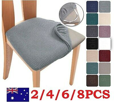 AU57.95 • Buy 2/4/6/8PCS Stretch Spandex Jacquard Dining Room Chair Seat Covers Removable Wash