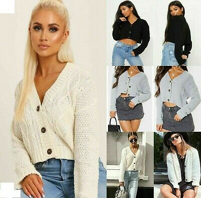 NEW Women's Chunky Cable Knitted Cardigan 3 Button Long Sleeves Crop Top Short • 9.99£