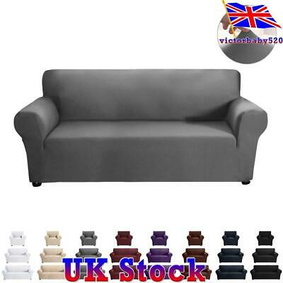 UK 1 2 3 Seater Solid Elastic Soft Sofa Couch Covers Stretch Slipcover Protector • 14.89£