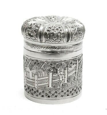 £139.99 • Buy Antique Indian/Ceylonese Silver Repousse Lidded Box With Village Scene C1880