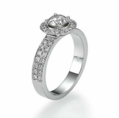 $ CDN3840.30 • Buy 2 Carat Real Round Cut Accented Diamond 18k White Gold Promise Wedding Ring New