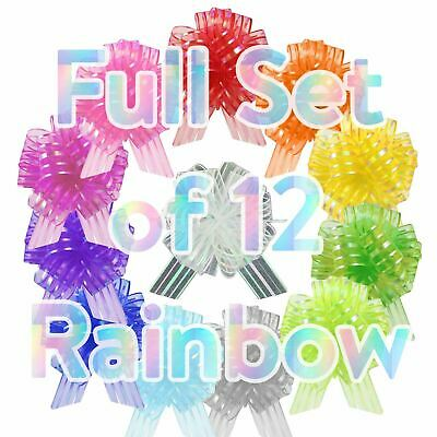 Set Of 12 30mm Organza Rainbow Pull Bows - Multicolour Assorted Pack • 4.99£