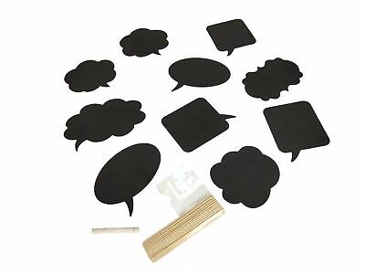 £4.99 • Buy Set Of 10 Mini Chalkboard Place Cards With Chalk - Plaque Placecard Blackboard