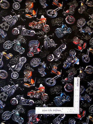$10.95 • Buy Motorcycle Chopper Biker Bikes On Black Cotton Fabric QT Easy Rider By The Yard