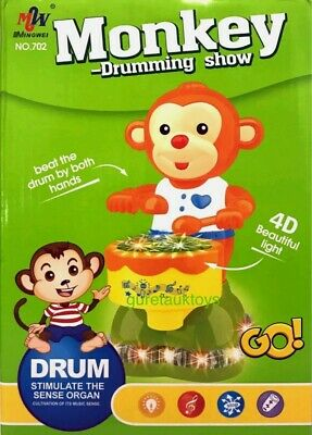 £9.99 • Buy Kids Interactive Drum Monkey With 4d Light Music Great Gift For Kids Toy