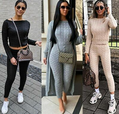 Women's Ladies Chunky Cable Knitted Co Ord Top Legging Loungewear Tracksuit Set • 19.89£