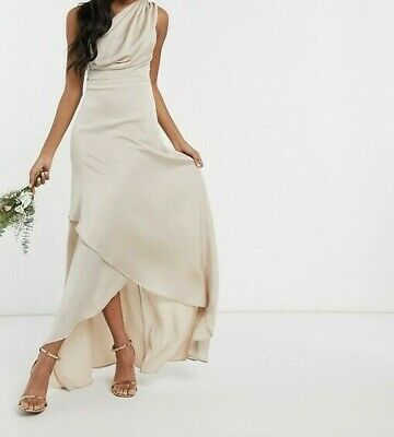 TFNC Bridesmaid One Shoulder Maxi Dress In Mink - Size: 10 • 29.99£