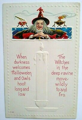 $ CDN50.95 • Buy Vintage Halloween Postcard Witch In Lab Magic Potions Nash Series H-23 Embossed