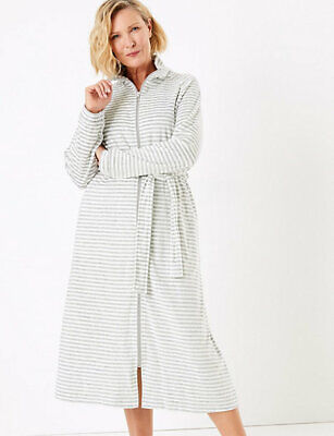 Marks And Spencer Velour Striped Long Dressing Gown Grey Mix Colour Size 12-14 • 35£