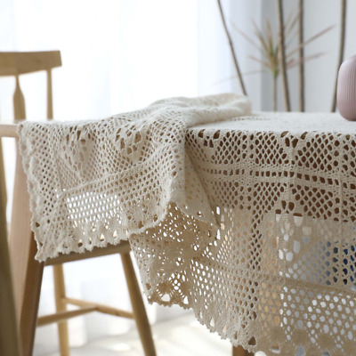 Cotton Knitted Vintage Crochet Rectangle Tablecloth Handmade Lace Hollow Cloth* • 12.49£