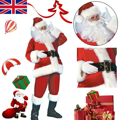 Santa Claus Costume Suit Adult Father Christmas Fancy Dress Mens Xmas Outfit UK • 6£