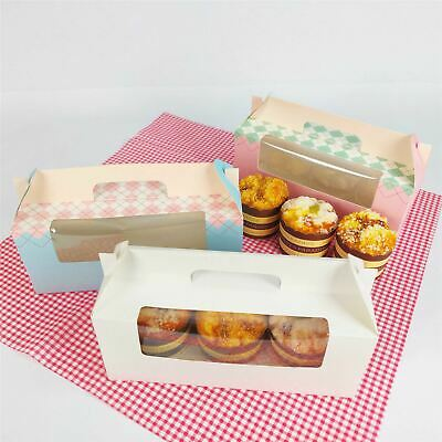 3 Hole Retro Pastel Cupcake Boxes - Cup Cake Carrier Boxes With Handle • 10.99£