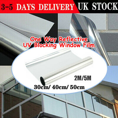 2M / 5M One Way Mirror Window Film Privacy Reflective Glass Sticker Effect Tint • 5.49£
