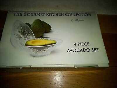 Vintage Rayware AVOCADO DISHES Set Of 4 Glass Boxed Serving Bowl Parties Unused • 10£