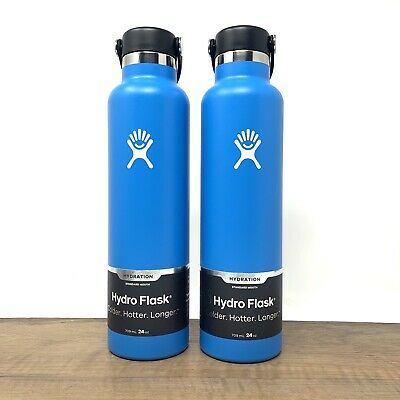 $60 • Buy Hydro Flask 24 Oz Standard Mouth, Pacific Blue - Set Of 2 Brand New