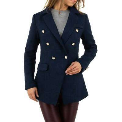 Navy Blue Tweed Style Gold Button Longline Blazer Jacket Boutique 8 10 12 14  • 25£