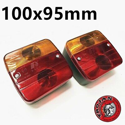 AU25 • Buy 2x Trailer Square Tail Light Stop Rear Number Plate Indicator Lights TROJAN