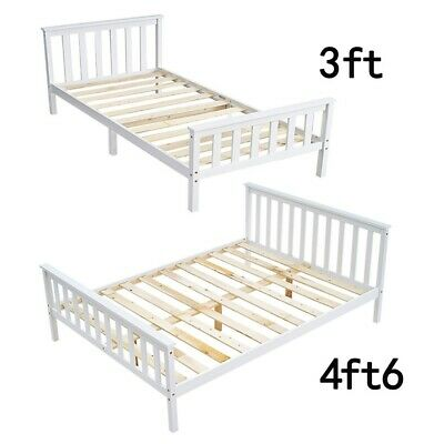 Modern 3FT Single / 4FT6 Double Wooden Bed Frame Solid Wood Pine Bed In White UK • 73.99£