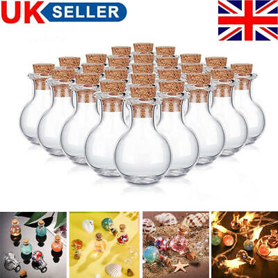 £4.55 • Buy Lots Mini Glass Bottle With Cork Stoppers Small Drifting Bottles DIY Craft Gifts