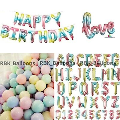 16  Foil Happy Birthday Balloons Macaron Rainbow Numbers Letter Love Baby Shower • 3.49£