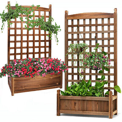 Wooden Garden Planter With Trellis Patio Terrace Flower Climbing Raised Bed Pot • 35.97£