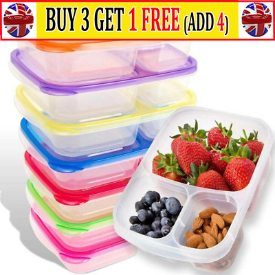 Plastic Lunch Box Food Container Set Bento Lunch Boxes With 3-Compartment ATUK • 7.99£