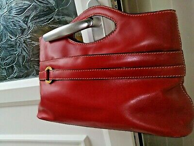 Jane Shilton Genuine Leather Red Ladies Handbag 9  X 13.5  • 7.99£