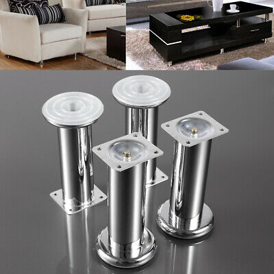4x Chrome Furniture Legs, Metal Feet 150MM Sofas, Beds, Chairs, Cabinets • 11.96£