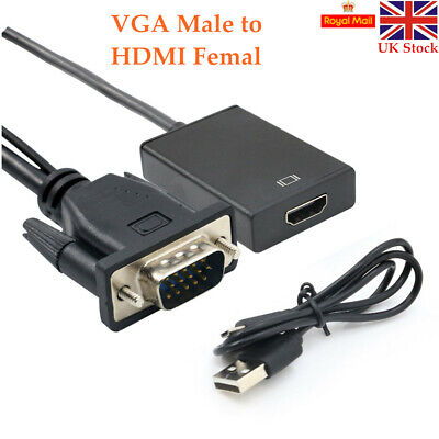 £5.58 • Buy VGA Male To HDMI Female Converter Adapter 1080P Output HDTV Audio Video Cable UK
