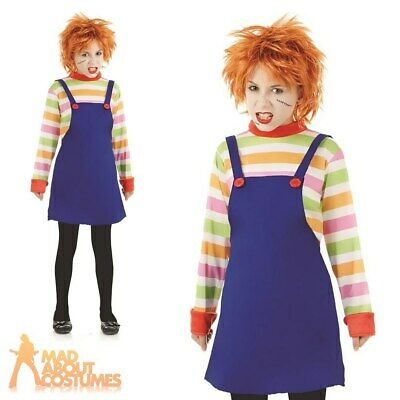 Kids Girls Evil Dummy Costume Halloween TV Scary Doll Fancy Dress Outfit • 9.99£