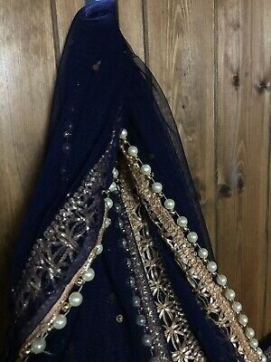£14.99 • Buy Fancy Net Dupatta Scarf With Gota Lace And Pearl Size 210cm X 75 Cm Navy Blue