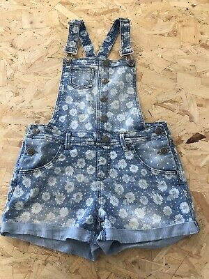 £9.99 • Buy Girls Short Dungarees Age 13 To 14 Years Cherokee Blue Denim Floral E1657