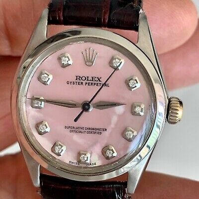 $ CDN2393.45 • Buy ROLEX OYSTER PERPETUAL WATCH MID SIZE STAINLESS STEEL WATCH Mother Pear Dial