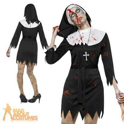 Womens Zombie Nun Costume Ladies Sister Mary Adult Halloween Fancy Dress Outfit • 13.49£