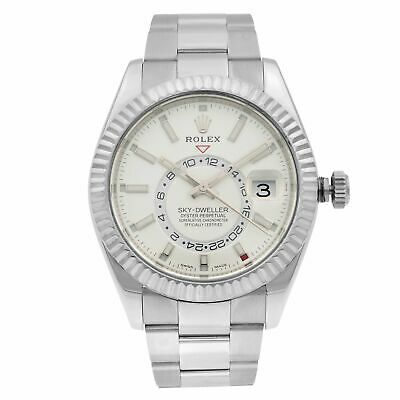 $ CDN25999.95 • Buy Rolex Sky-Dweller Gold Steel Silver Dial Oyster Band Automatic Mens Watch 326934
